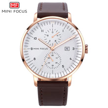 brown leather band white face watch