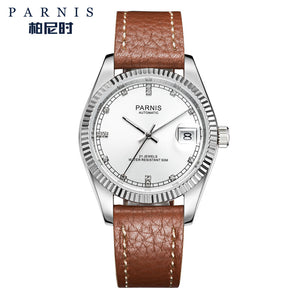 brown leather white face watch