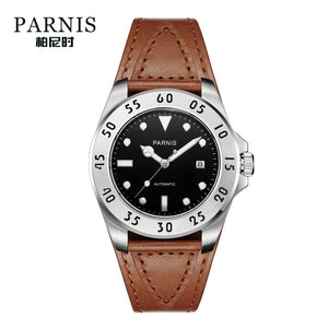 brown strap black dial watch