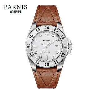 white dial brown leather strap watch