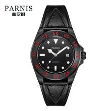 mens black leather watch