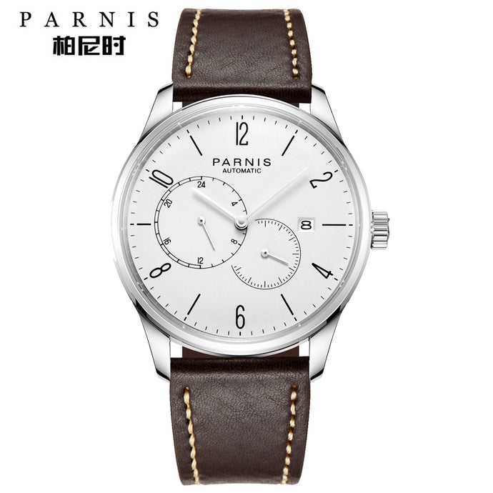 white dial leather strap watch