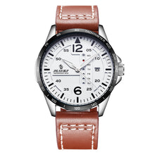 white face brown leather strap watch