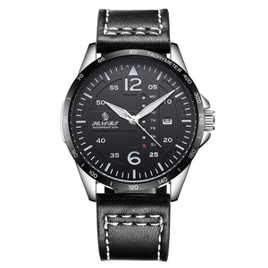 mens watch black leather band