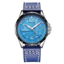 blue leather strap mens watch