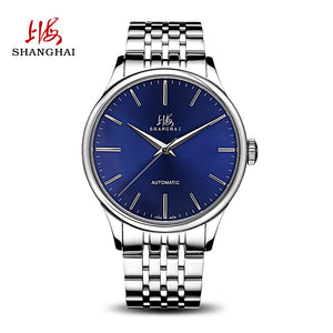 blue dial metal strap watch