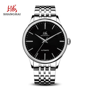 silver watch black face
