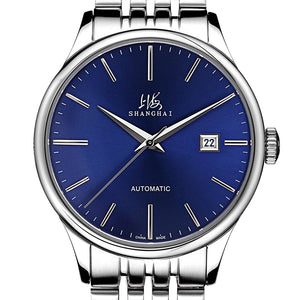 stainless steel blue face watch