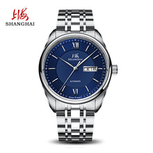 silver watch blue face mens