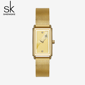 square gold watch womens