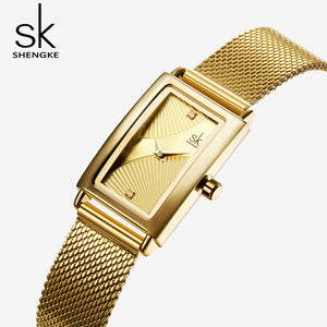 gold square watch women's