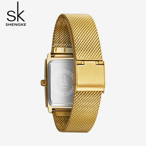 women's gold square face watch