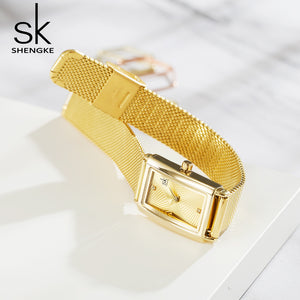 ladies gold square face watches