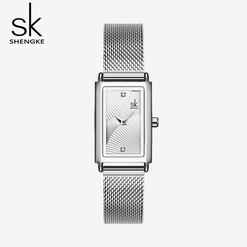 women's silver watch with square face