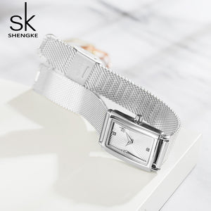 women's square silver watch