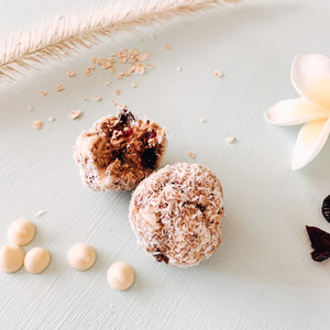 Coconut White Chocolate & Cranberry Supply Boosting  No Bake Boobie Bliss Balls Recipe