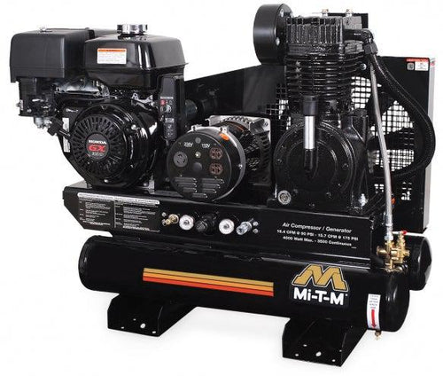 Mi-T-M 8-Gallon Air Compressor  Generator Combination Stationary  Two Stage - 15.7 @ 175 PSI/16.4 @ 90 PSI - 389cc Honda GX390 OHV