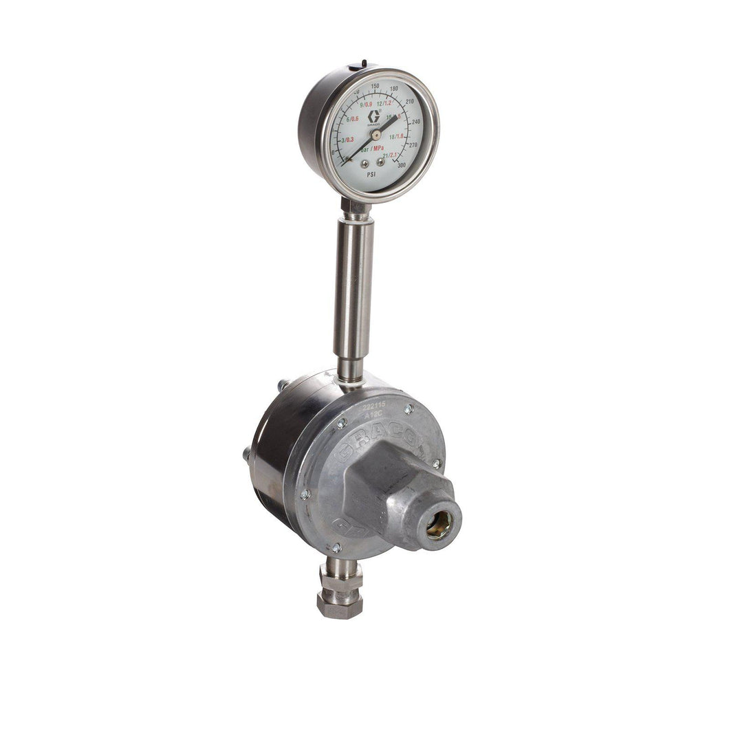 Graco Low Pressure Fluid Regulator, 250 Max psi, 20-160 psi Range, 3.0 GP (m), SST, Spring Type, 3/8 (f) x 3/8 (m), 1/4 (f) Port