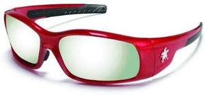 MCR Safety SR137 Swagger Safety Glasses, Red Frame with Silver Mirror Lens
