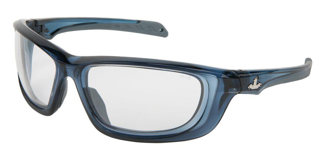 MCR Safety UD1 Series, Clear lens, Crystal Blue Frame, MAX6™ Superior Anti-Fog Coating 1/EA