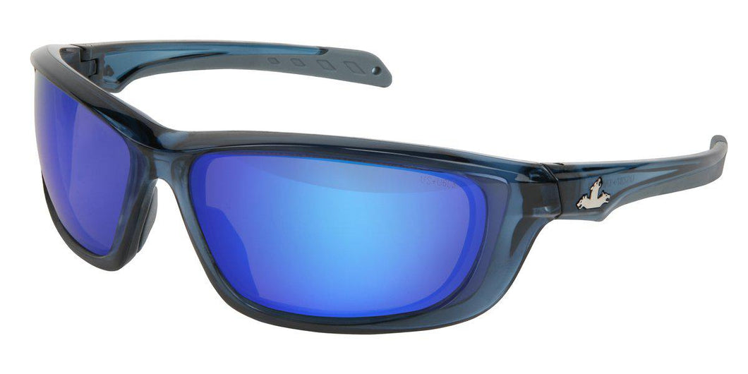 MCR Safety UD1 Series, Blue Diamond Mirror lens, Crystal Blue Frame 1/EA