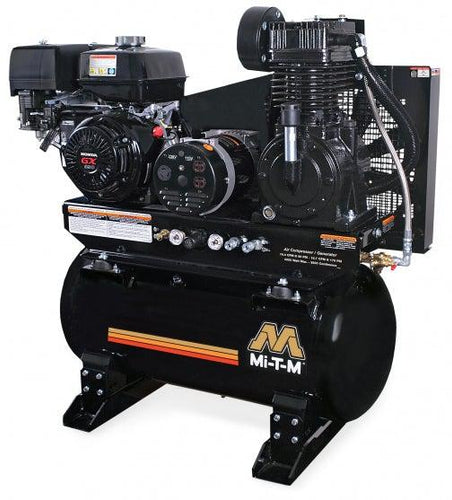 Mi-T-M Two Stage Combination Air Compressor / Generator Combination Regular Gasoline -15.7/16.4 CFM - 175/90 PSI - 389cc Honda GX390 OHV