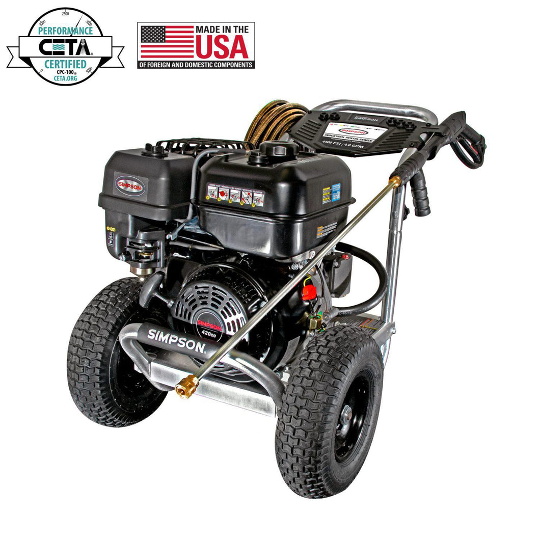 Simpson Industrial Rental Series Professional Pressure Washers - 4400PSI@4GPM - SIMPSON 420cc - AAA Industrial Triplex - Direct Dive -  (Gas - Cold Water)