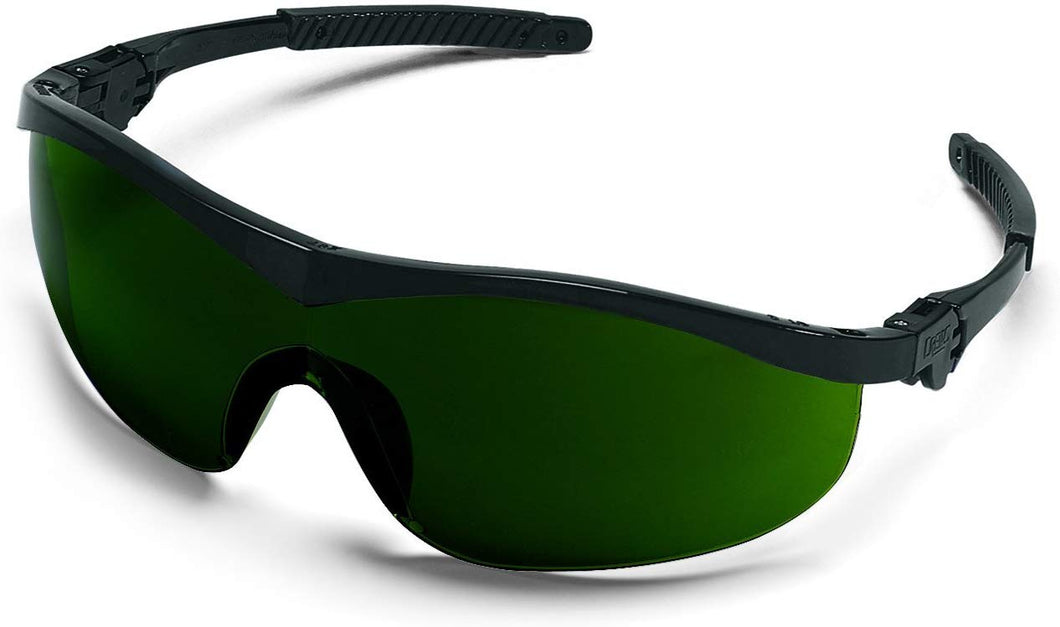 MCR Safety ST1150 Storm Ratchet Bayonet Temple Single Lens Glasses with Black Frame and Filter Green 5.0 Lens