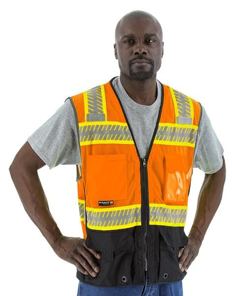 Majestic 75-3240 High Visibility Mesh Vest with DOT Reflective Chainsaw Striping - Hi-Vis Orange - 1/EA