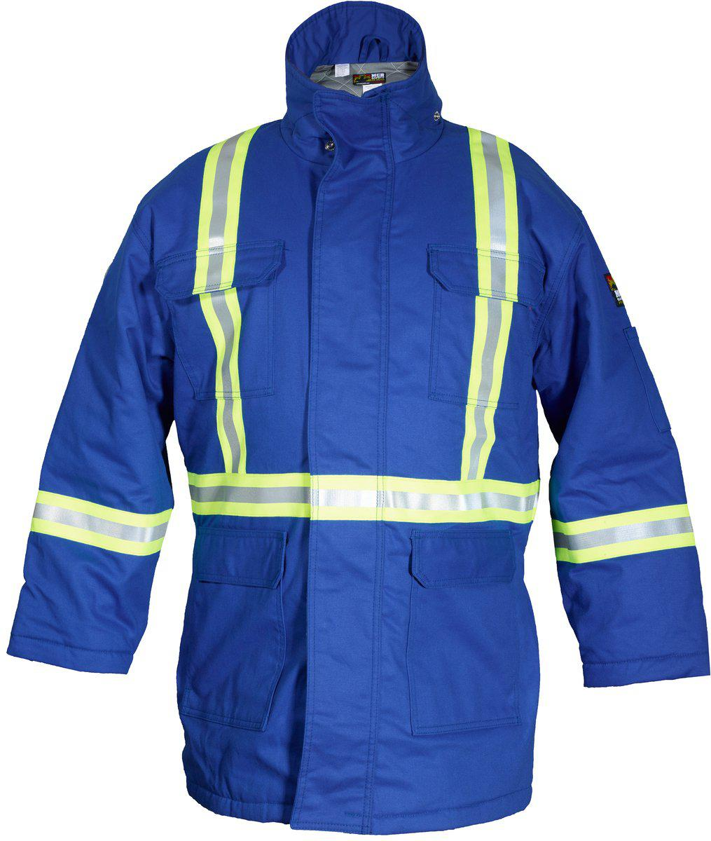 MCR Flame Resistant (FR) Extreme Climate Insulated Parka Modacrylic Quilted Lining with Wind and Vapor Barrier Max Comfort Material FR Reflective Stripes 88% Cotton 12% Nylon Royal Blue - 1EA