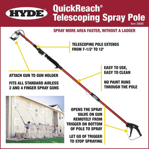 Hyde Tools - QuickReach® Telescoping Spray Pole 7.5'-12'