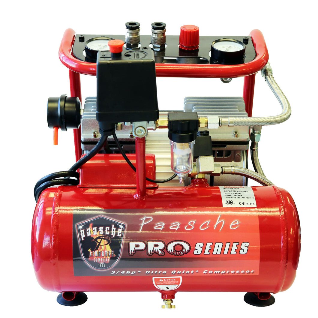 Paasche DC850R 3/4 HP Oilless Compressor with Tank.