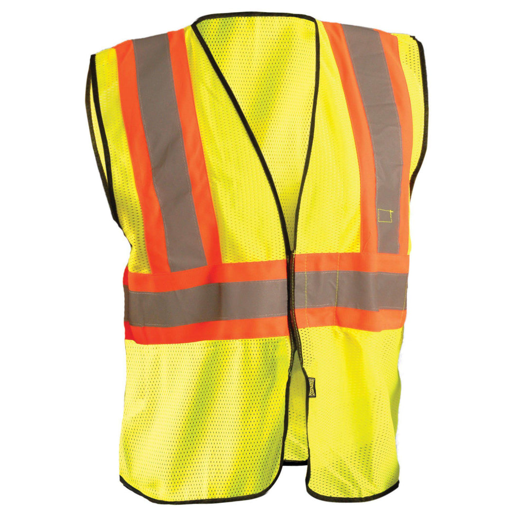 OccuNomix ECO-GC2T Type R Class 2 Value Mesh Two-Tone Safety Vest - Yellow/Lime - 1/EA