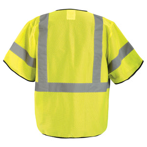 OccuNomix ECO-GCZ3 Type R Class 3 Value Mesh Safety Vest with Zipper - Yellow/Lime - 1/EA