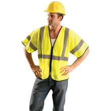 Load image into Gallery viewer, OccuNomix ECO-GCZ3 Type R Class 3 Value Mesh Safety Vest with Zipper - Yellow/Lime - 1/EA