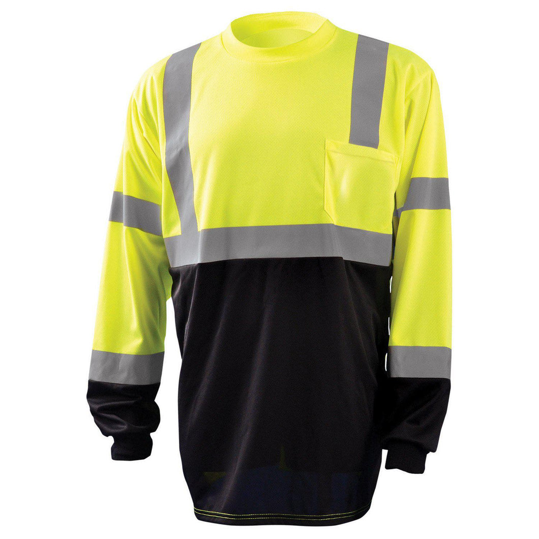 OccuNomix LUX-LSETPBK Type R Class 3 Black Bottom Long Sleeve Safety T-Shirt - Yellow/Lime - 1/EA