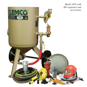 "Clemco 23895 6 Cubic Foot Blast Machine Packages with 1-1/4"" piping 24"" diameter Flat Sand Valve - Apollo HP SaFety Gear"
