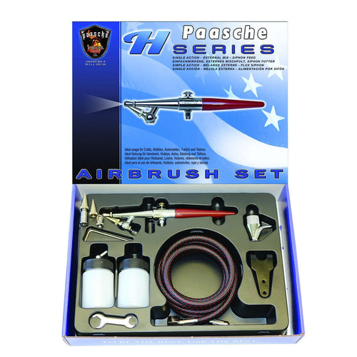 Paasche H-SET Single Action – External Mix – Siphon Feed Airbrush (1587632668707)