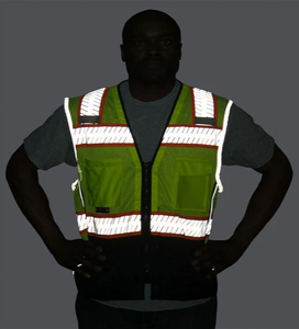 Majestic 75-3239 High Visibility Mesh Vest with DOT Reflective Chainsaw Striping - Hi-Vis Yellow - 1/EA