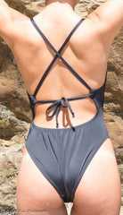 One Piece Criss-Cross Tie Back Swimsuits - Brookesbeach.com