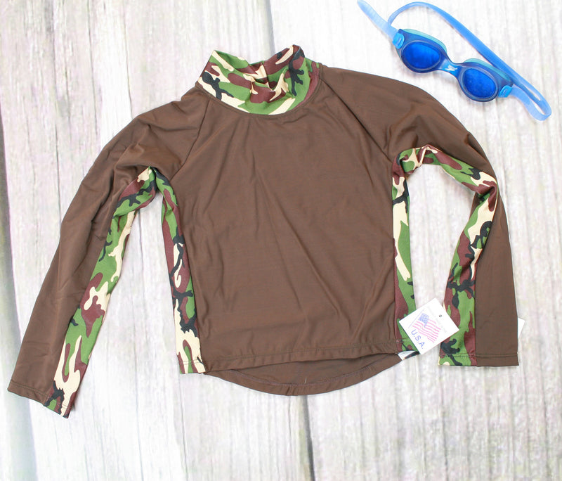 Children and Toddler's RashGuards UPF-40-50+ UV- Brown/Camo - Brookesbeach.com