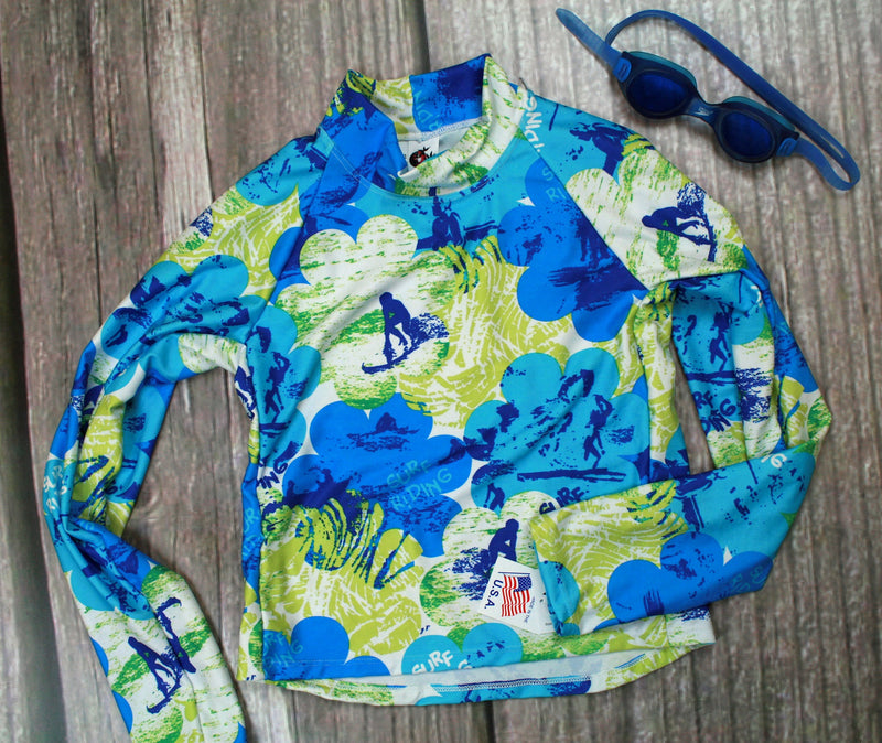 Children and Toddler's RashGuards-Blue/Surfrider