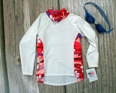 Children and Toddler's RashGuards UPF-40-50+ UV White/Pink Daisy