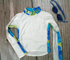 Children and Toddler's RashGuards UPF-40-50+ UV White/Surfrider