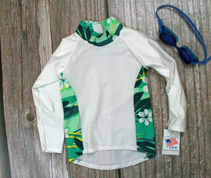 Children and Toddler's RashGuards UPF-40-50+ UV White/Teal Daisy