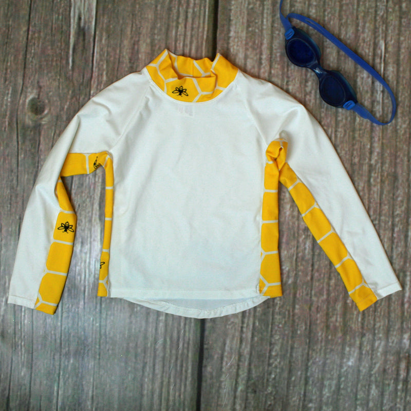 Children and Toddler's RashGuards UPF-40-50+ UV White/Yellow Bee - Brookesbeach.com