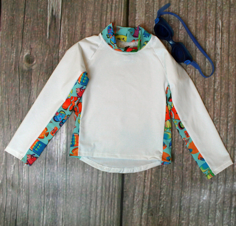 Children and Toddler's RashGuards UPF-40-50+ UV Aqua/Fishy