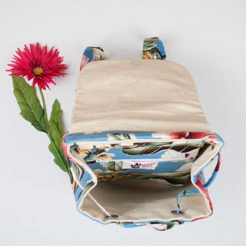 YouGo Backpack-Purse-Blue Hawaii Print - Brookesbeach.com