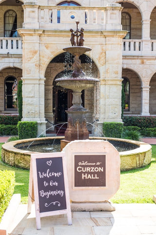 Curzon Hall Wedding Welcome Sign