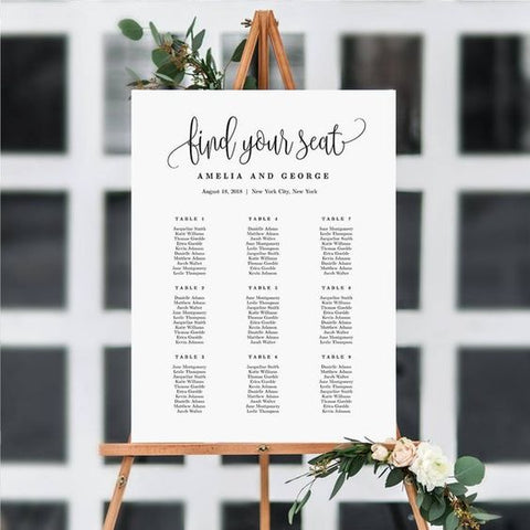 Find Your Seat Wedding Reception Sign